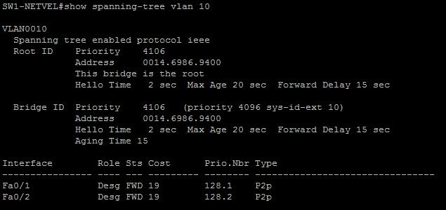 STP útok show spanning tree