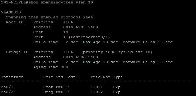 STP útok show spanning tree 2
