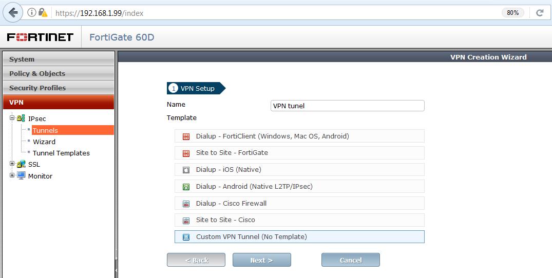 konfigurácia IPsec fortigate 2