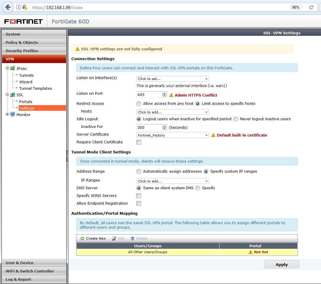 Vzdialený prístup do siete fortigate SSL VPN