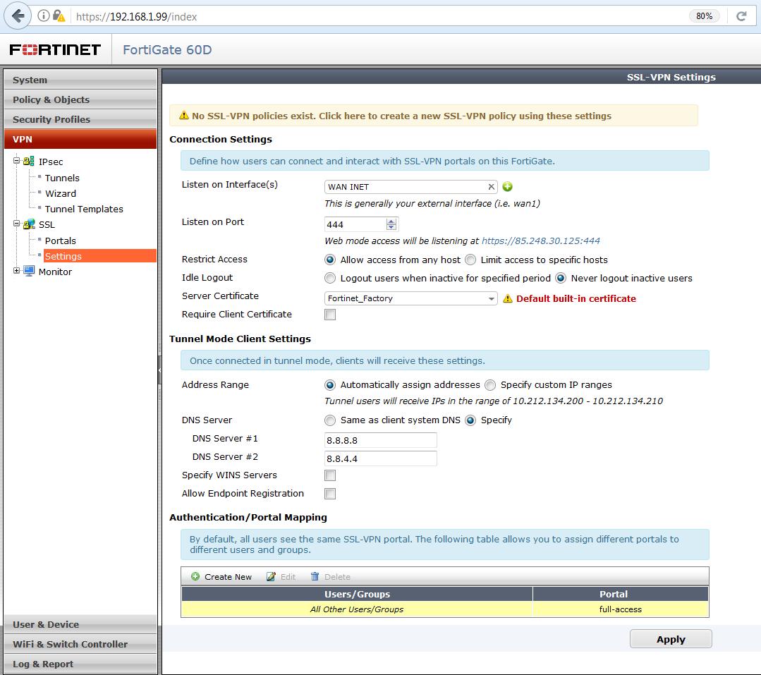 Vzdialený prístup do siete fortigate SSL VPN 2