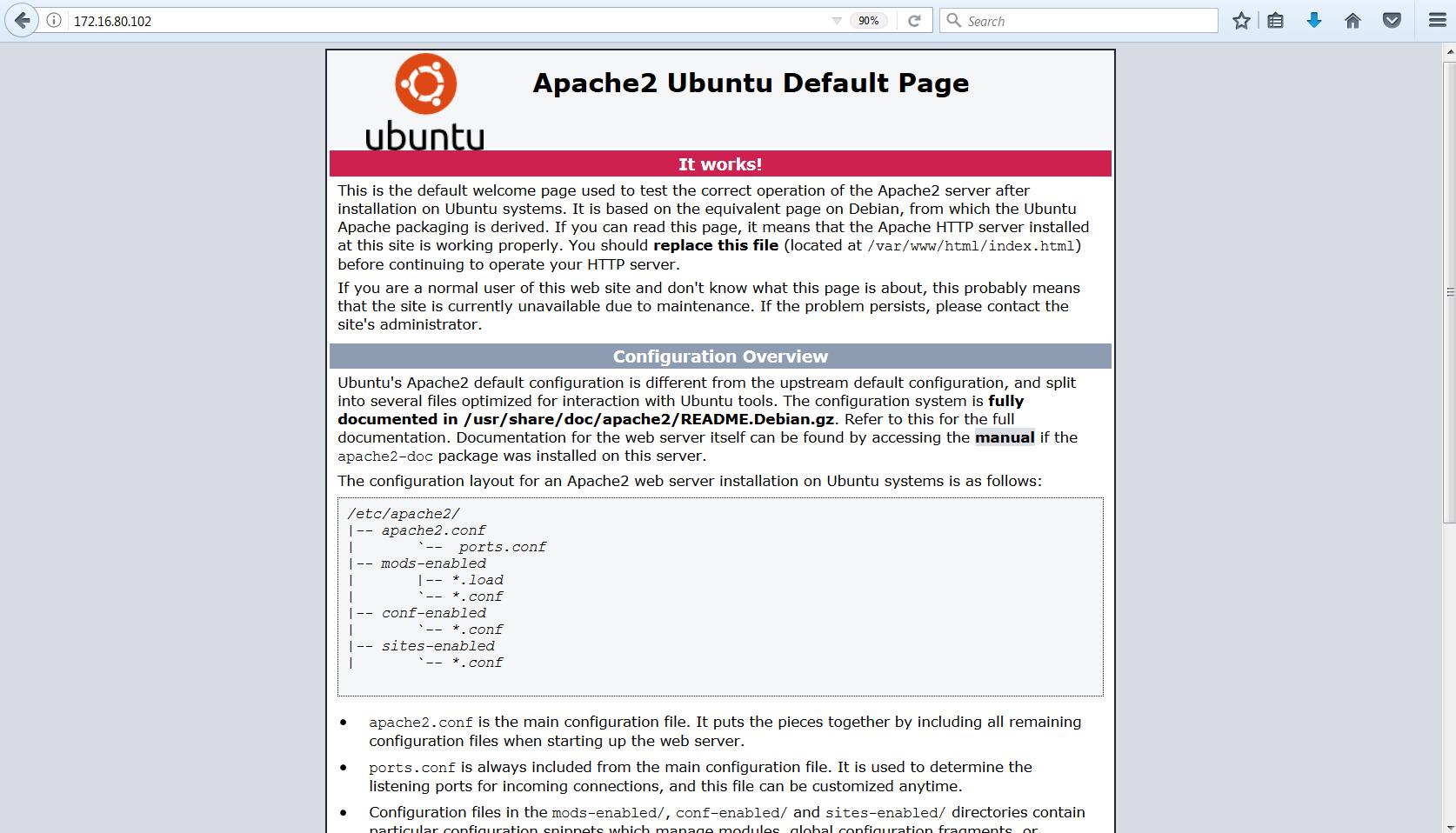 apache WEB server default