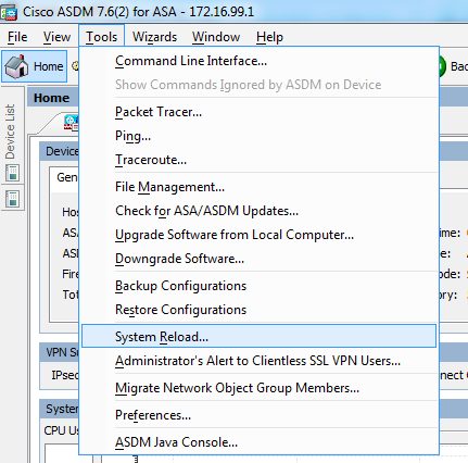 Cisco ASA ASDM restart